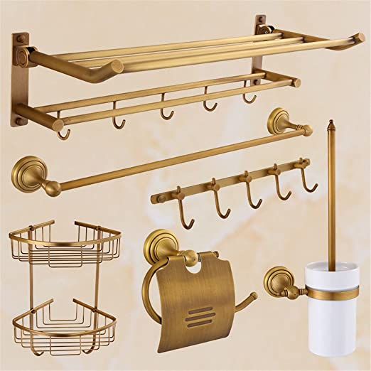 Cobre estilo europeo toallero plegable antiguo baño toallero ...