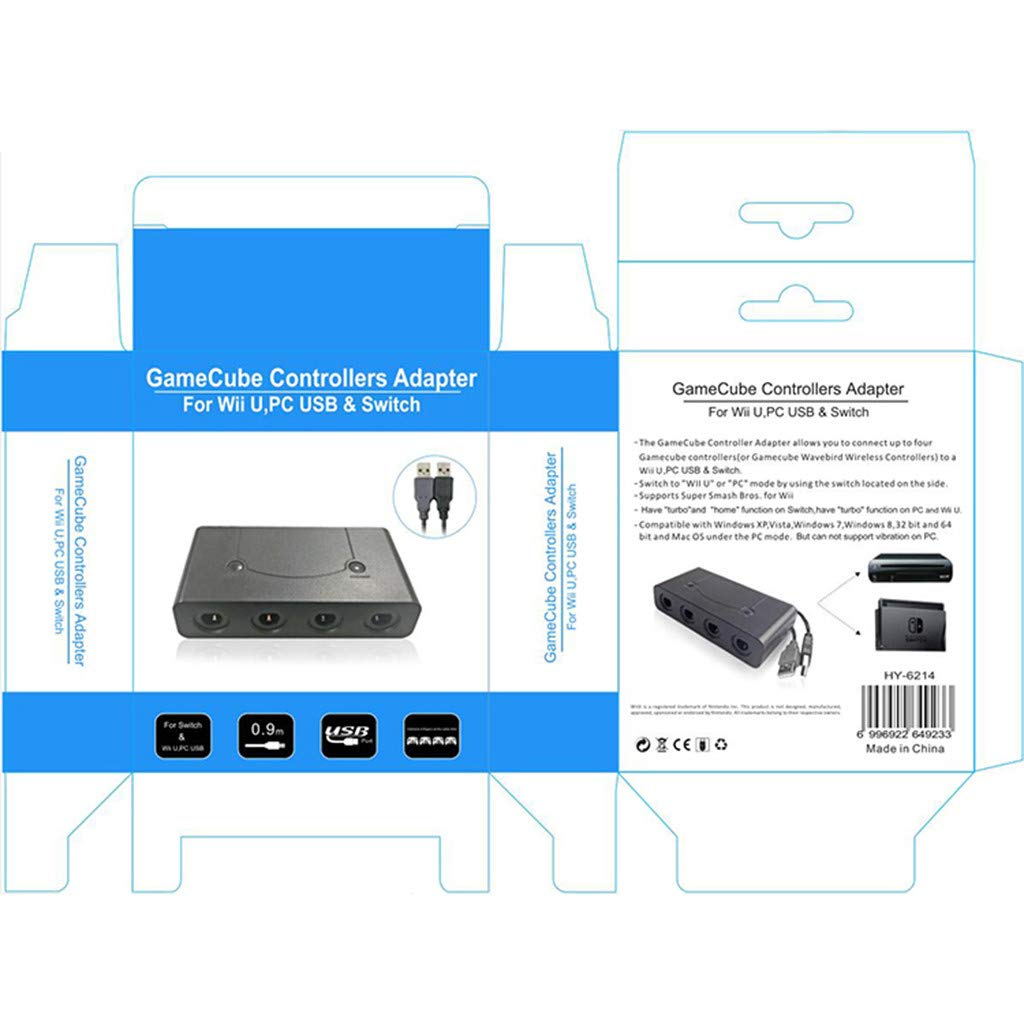 HowLoo GC Controller Adapter for Switch Wii U PC USB 4 Port by HowLoo (Image #3)