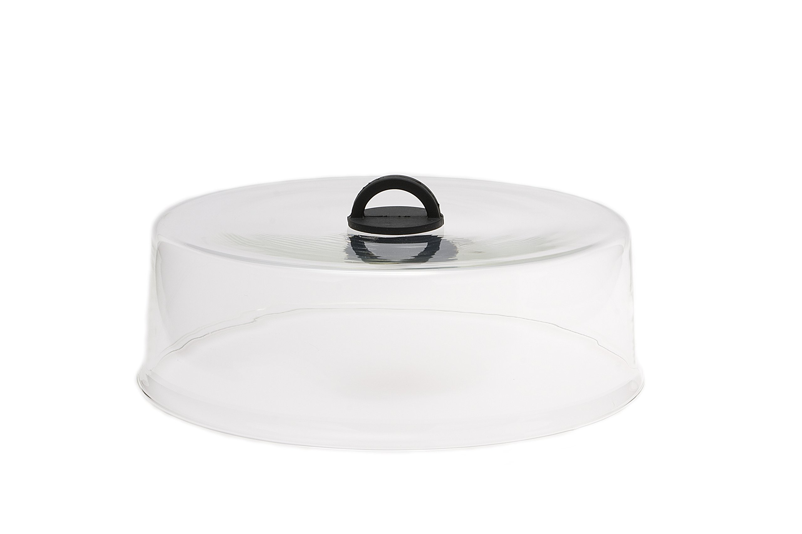 Microwaveable Tall Glass Plate Cover with Black Easy-Grip Silicone Handle by Catamount Glassware