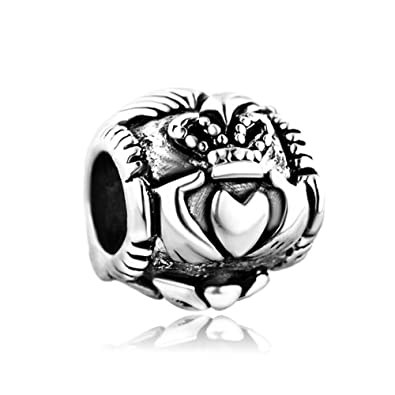 Mother's Day Gifts Jewellery Sandcastle Charm Irish Claddagh Heart 925 Sterling Silver Charms Love Friendship Loyalty for Bracelets YTW6QTdYg