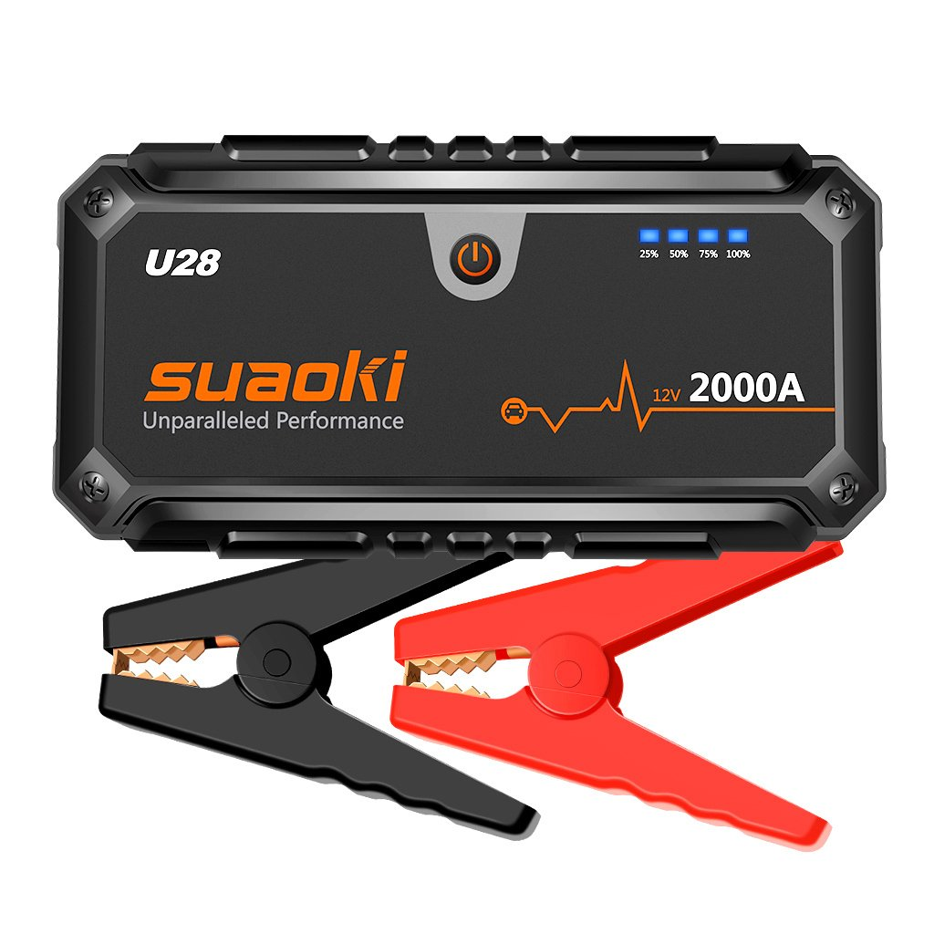 SUAOKI U28 2000A Peak Jump Starter Pack, 12V Auto Battery Booster (for ALL Gas Or 8.0L Diesel Engines) With USB Power Bank, LED Flashlight And Smart Battery Clamps For 12V Car & Boat, UL Certified