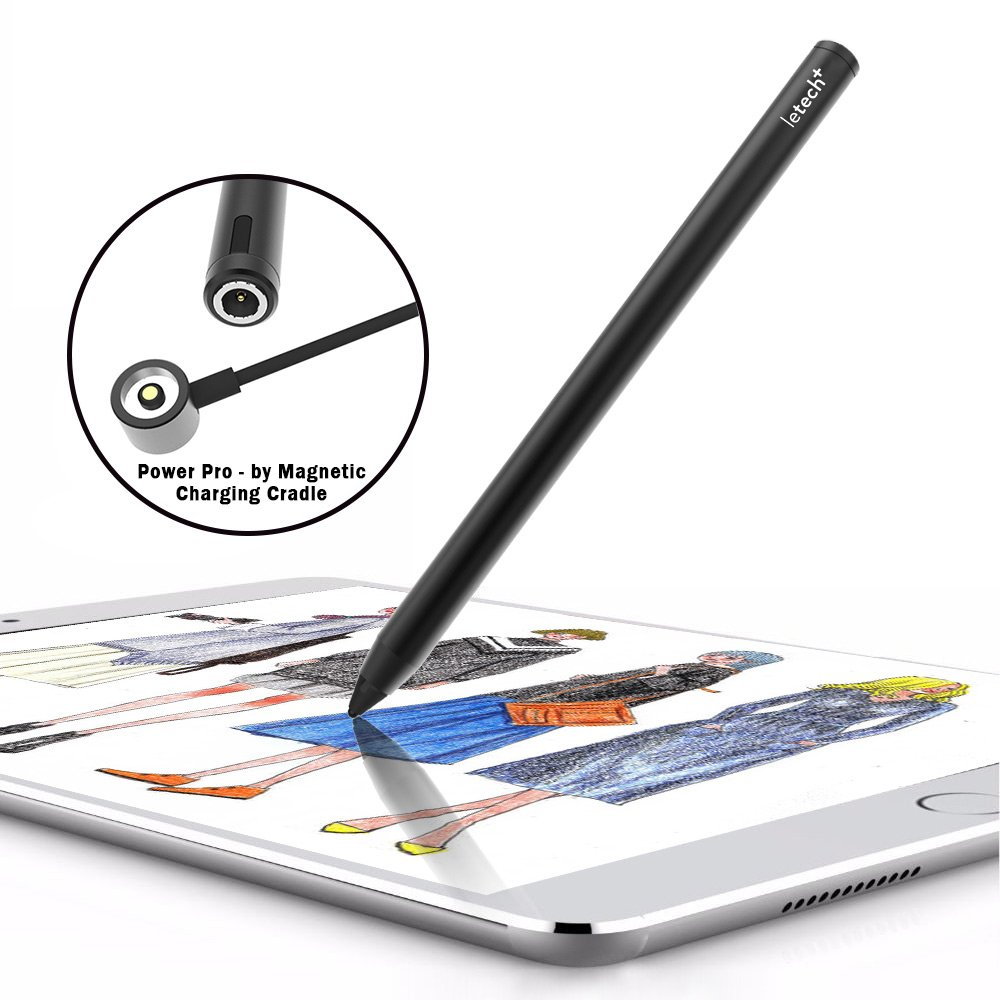 letech+ POWER PRO Rechargeable Active Stylus Pen,Conductive Fiber Fine Point Tip Digital Pen Offers Precise Handwriting Drawing on iPad,iPad pro,iphone,Samsung Tablet,Android Device,BLK by letech+