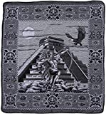 El Paso Designs Mexican Aztec Warrior Popocatepetl Guerrero Azteca Legend Pictorial Woven Blanket (92'' x 74'') (Aztec Pyramid Black and White, Queen)