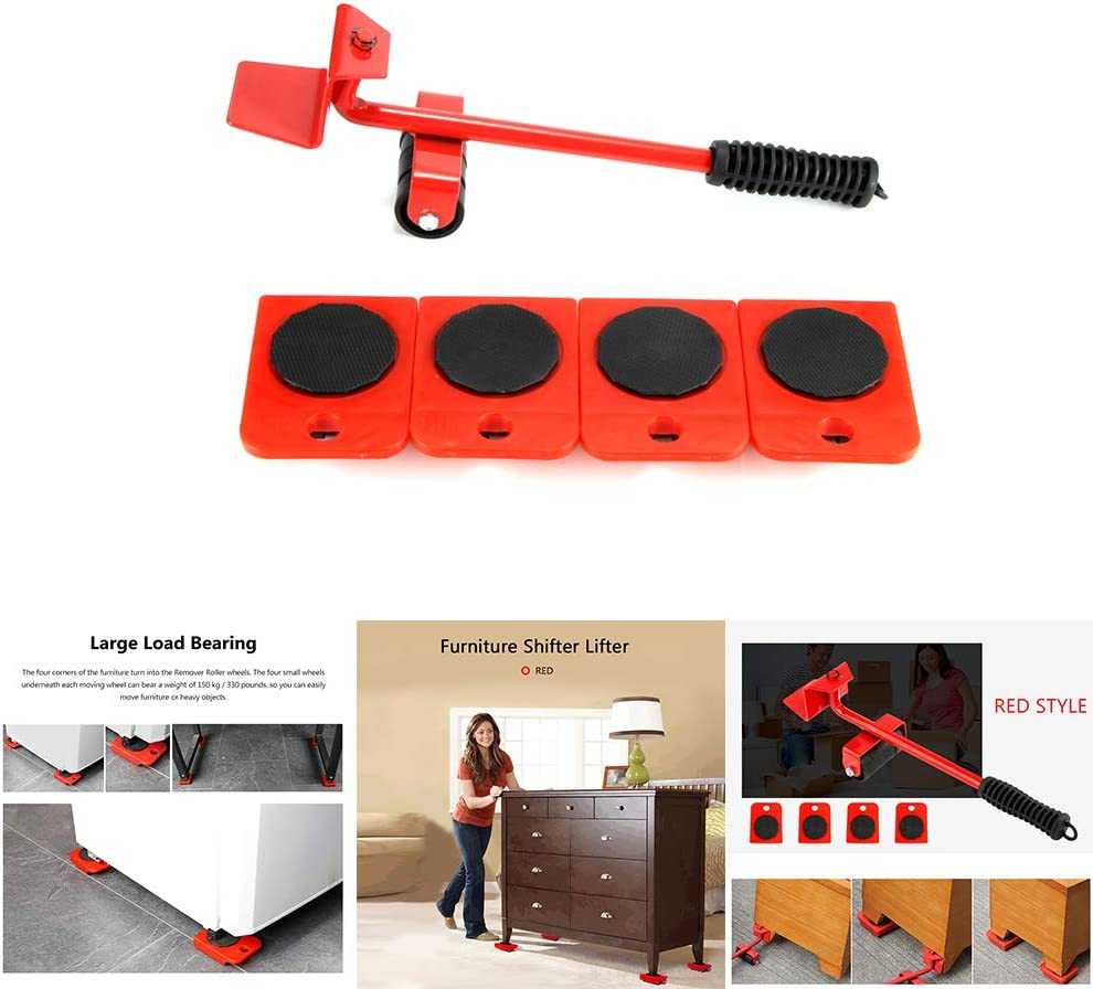 5PCS Furniture Movers Trolley Lift Heavy Duty Labor-Saving Table Sofa Wardrobe Shifter ALLOMN Furniture Shifter Lifter 360 Degree Rotatable Pads Max Up for 150KG//330 LB Red
