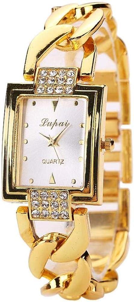 QWRjj Reloj de Pulsera Fashion Lady Movimento al quarzo con simulazione Acero Inoxidable Quadrante con Fibbia al quarzo Orologio automatico Quadrato pieghevole con diamanti