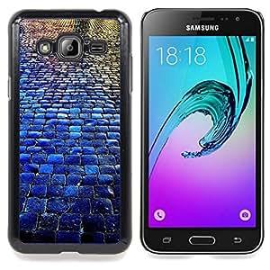 Stuss Case / Funda Carcasa protectora - Adoquines City Blue Rain Reflexión - Samsung Galaxy J3 GSM-J300