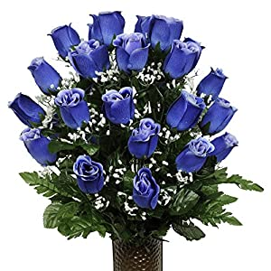 Blue Rose Artificial Bouquet, featuring the Stay-In-The-Vase Design(c) Flower Holder (MD1010) 1