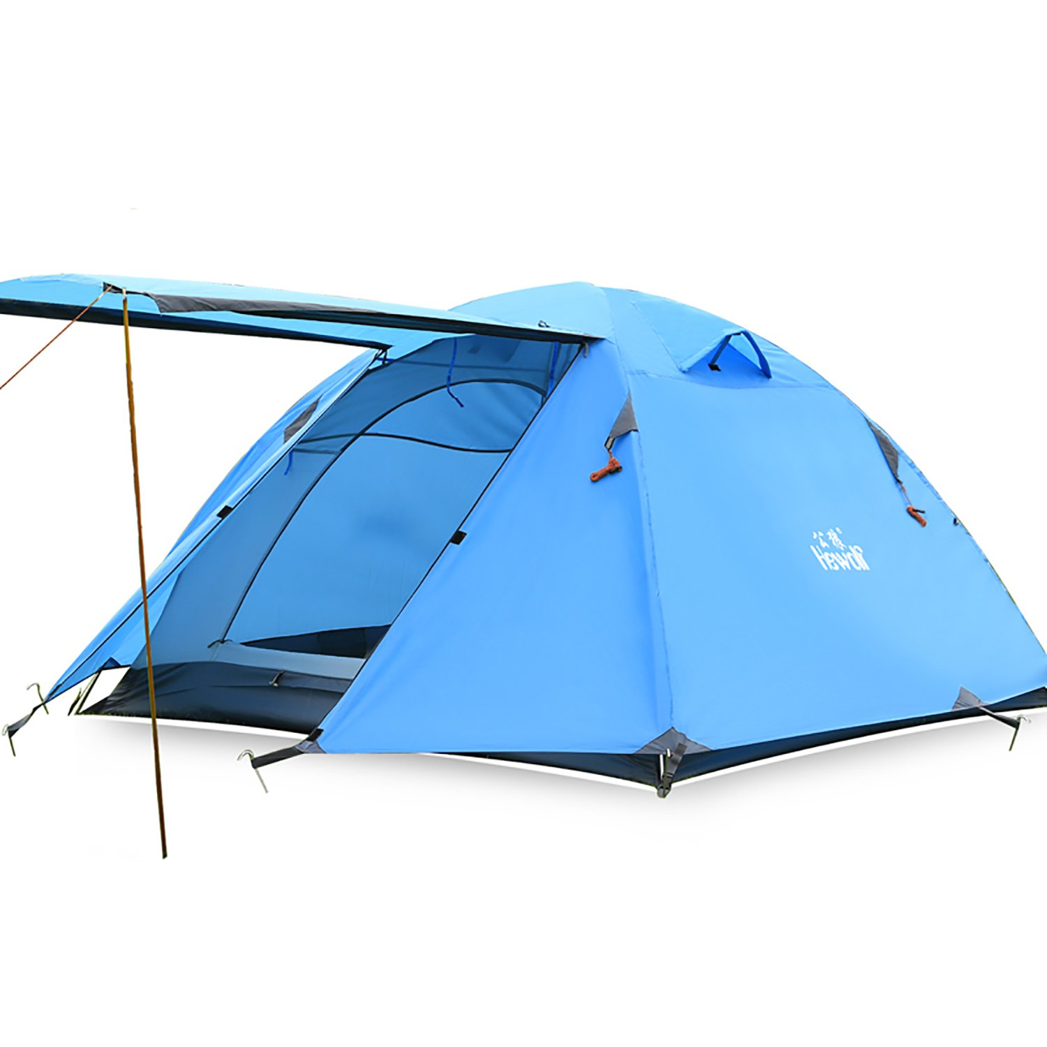 Hewolf 軽量防水バックパッキングテント アルミポール 4シーズンハイキングテント 超軽量クライミングテント  3 person tent 6.5ft*5.9ft*3.9ft B00UN1D1UC