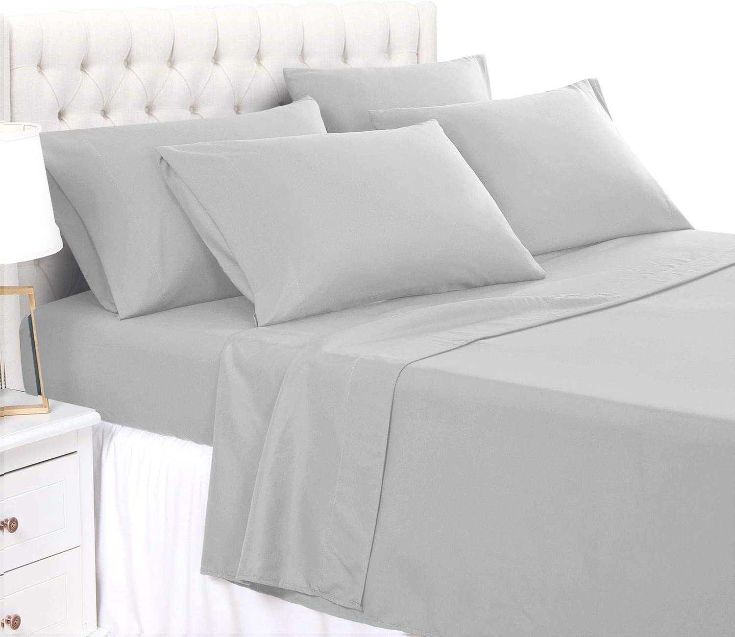 800 Thread Count 100% Cotton 4 Pcs Bed Sheets Light Grey, Full XL Sheets Long Staple Combed Cotton Fits Mattress Upto 21'' Deep Pocket Soft & Silky Sateen Weave, Luxury Bedding