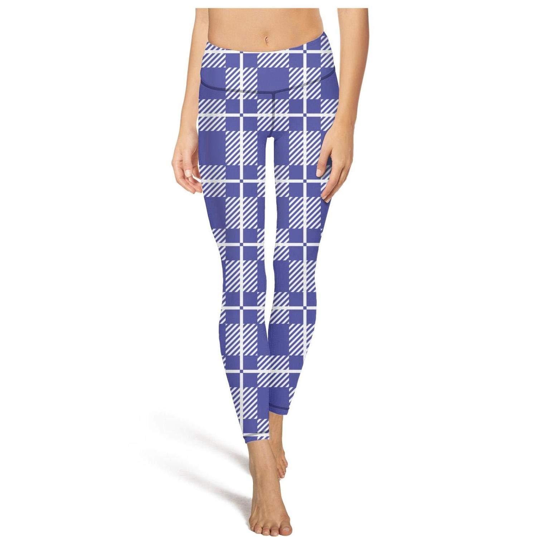 Stylish high Waisted Leggings for Women Sports Yoga Pants Checkerboard Squares Mottled Shades Indigo White Jogging Legging