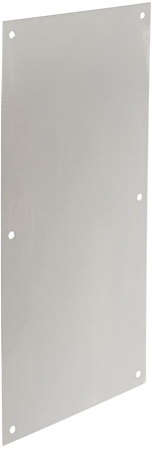 "Rockwood 70F.32D Stainless Steel Standard Push Plate, Four Beveled Edges, 16"" Height x 8"" Width x 0.050"" Thick, Satin Finish"