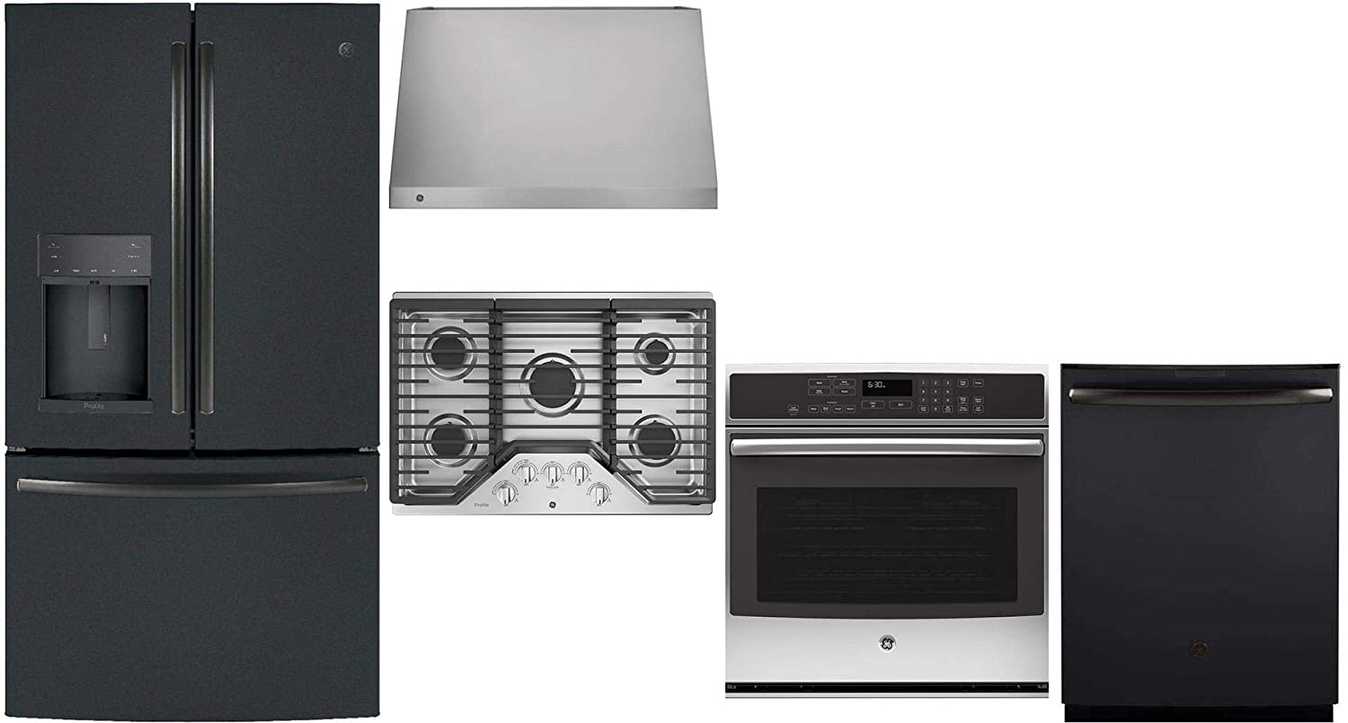 """GE Profile 5 Piece Kitchen Appliance Package with 36"""" French Door Refrigerator, 30"""" Gas Cooktop, 30"""" Wall Mount Ducted Hood, 30"""" Electric Single Wall Oven and 24"""" Built In Dishwasher in Black Slate"""