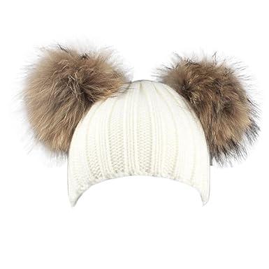 affb2b366a Longra Hiver Bonnet Femme Pompon Fourrure Double Pompon Bonnet a Laine  Tricote Femmes hiver Bonnet Laine