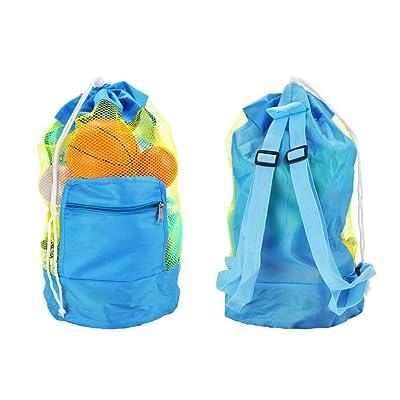 AumoToo Bolsa de malla de playa, bolsa de playa grande Bolsa de arena con cordón para niños Bolsas de almacenamiento de juguetes, neceseres de la playa de verano: Juguetes y juegos