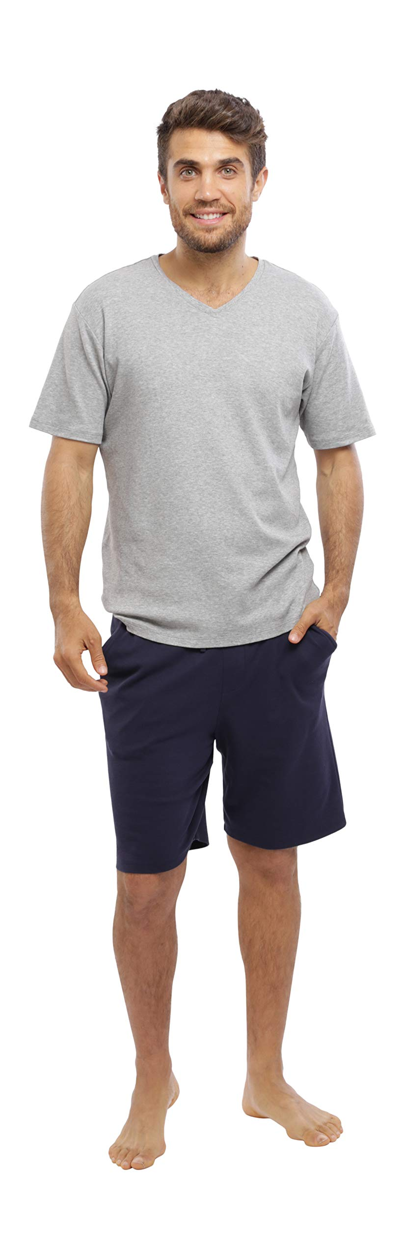 jijamas Incredibly Soft Pima Cotton Men's Pajamas Set - The Weekender Shorts in Navy and Heather Grey