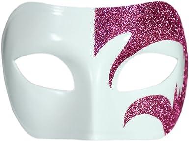 Carnival Prom New Year Costume Eye Mask Mystic Venetian Pink Glitter White Masquerade Mask Wedding Cruise Mardi Gras Party Dance