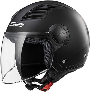 Amazon.es: LS2 - Casco de moto Matt Black Long (negro mate) con circulación de aire, talla M. Código Of562