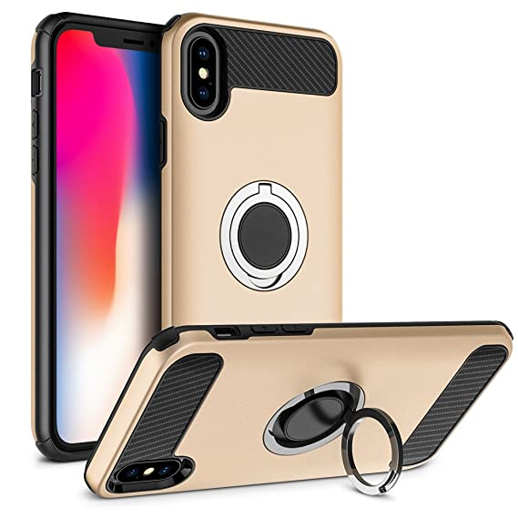 finest selection 2b841 ea34d iPhone X Case, Vabogu Multi-function Car Holder Stand Magnetic Suction  Bracket Finger Ring TPU + PC Case for iPhone X (Glod)