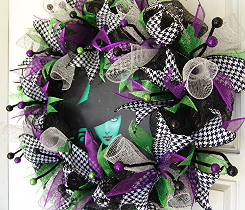 Wicked Costumes Musical (FREE SHIPPING! Wicked the Broadway Musical Witch Deco Mesh Wreath Halloween, Birthday, Party, Gift, Door, Wall, The Musical, Witch, Green)