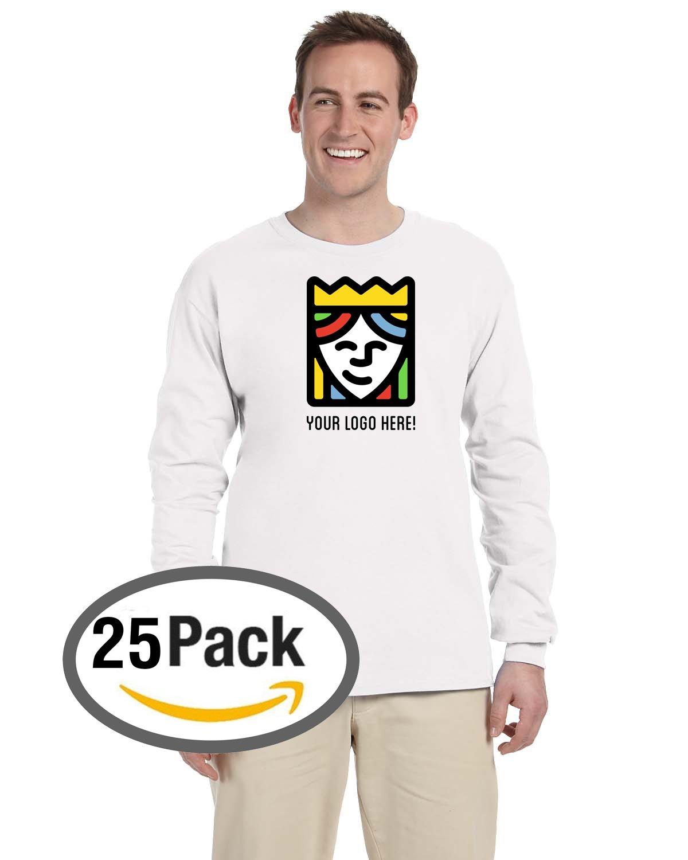 Custom Printed Gildan Classic Long Sleeve White T Shirts – Pack Of 25 by Queensboro Shirt Company