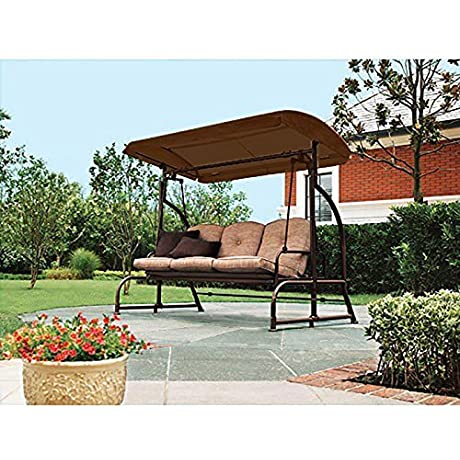 Garden Winds Replacement Canopy For Walmart S Sand Dune 3 Seater Swing Brown