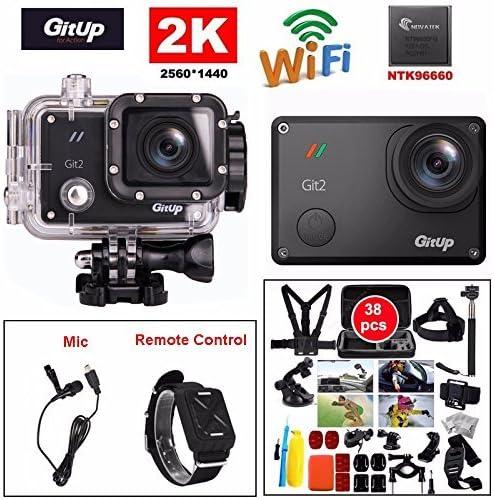 Boblov Gitup Git2 2K 30fps Novatek 96660 1080P WiFi Acción Videocámara deportiva Casco de deportes DVR Cámara impermeable con llavero (Gitup Gt2+Micrófono y control remoto + 30 en 1 Accesorios): Amazon.es: