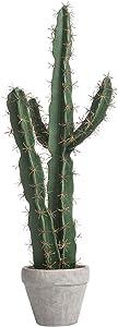 MyGift 27-inch Decorative Artificial Saguaro Peruvian Tree Cactus Plant with Gray Concrete Planter