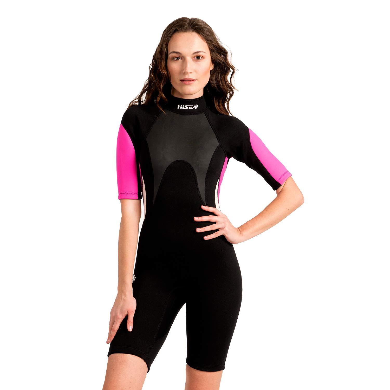 Scubadonkey 3 mm Neoprene Shorty Wetsuit for Women | Short Sleeve | for Surfing Scuba Diving Swimming Kayaking Snorkeling (S)