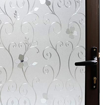 3D Flower Privacy Window Film Frosted,Translucent Decorative Glass Door Film,Non  Adhesive Stained
