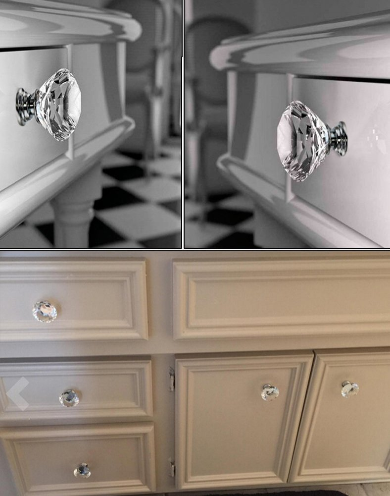 clear glass cabinet knobs. Buy Sumnacon 10 Pcs 40MM Clear Crystal Door Knobs - Diamond Wardrobe Doorknob Drawer Cabinet Handle Pulls Cupboard Pull Glass R