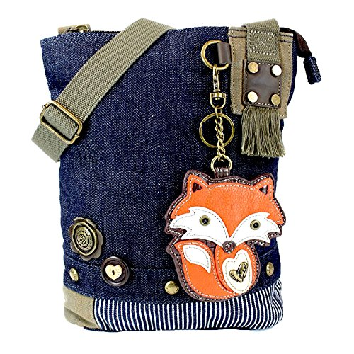 Chala Patch Cross-Body Women Handbag, Blue Denim Canvas Messenger Bag - Fox - Patchwork Messenger