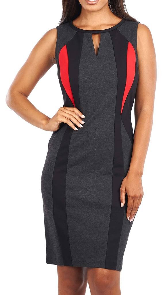 Joseph Ribkoff Black, Grey & Red Slimming Cutout Dress Style 163299 - Size 12 by Joseph Ribkoff