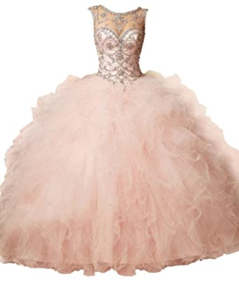 6cb27d2588c Image Unavailable. Image not available for. Color  Dearta Women s Ball Gown  Scoop Neck Tulle Quinceanera Dresses ...