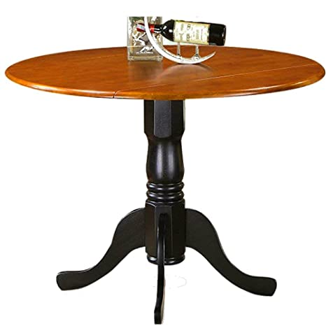 Amazon.com - Expanding Dining Table Round Dropleaf Black ...
