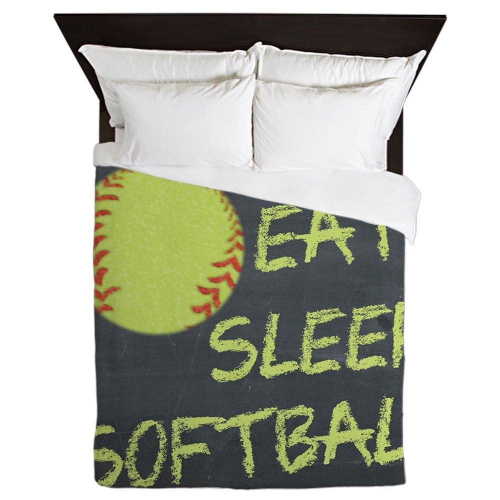 CafePress - Eat, Sleep, Softball - Queen Duvet Cover, Printed Comforter Cover, Unique Bedding, Microfiber