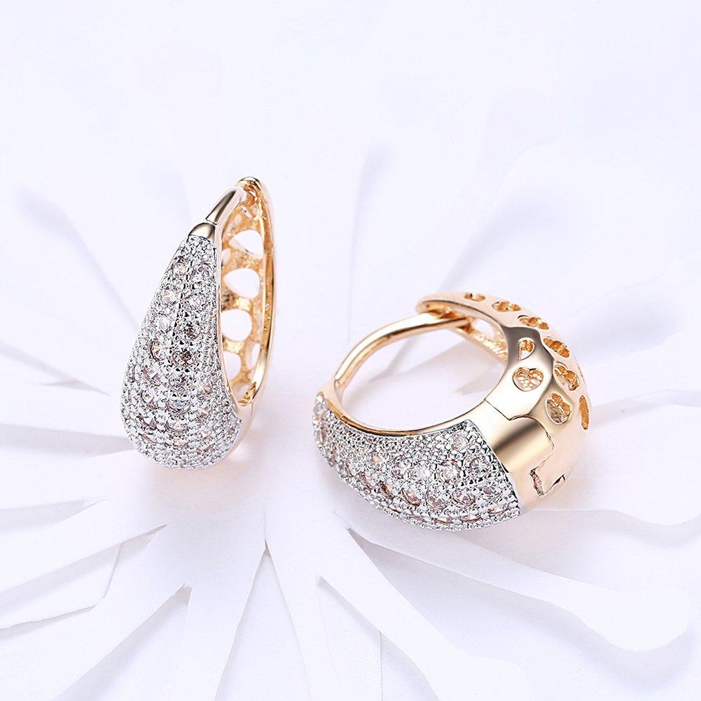 Fashion Hoop Earrings Rhinestone Cubic Zirconia Waterdrop Earrings Rromantic Charmpgine Gold Plating