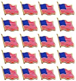 Bassion 20 PCS American Flag Lapel Pin United States USA Waving Flag Pins