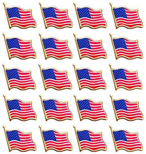 Bassion 20 PCS American Flag Lapel Pin United States USA Waving Flag Pins (American Pin Pride)