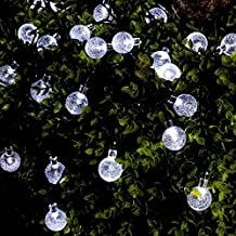 Solar String Lights, Caseeto 21FT 30LED Waterproof Crystal Ball Lights with 8 Modes Solar Powered Fairy String Lights for Outdoor, Indoor, Home, Patio, Lawn, Garden, Party, Wedding (Cool White)