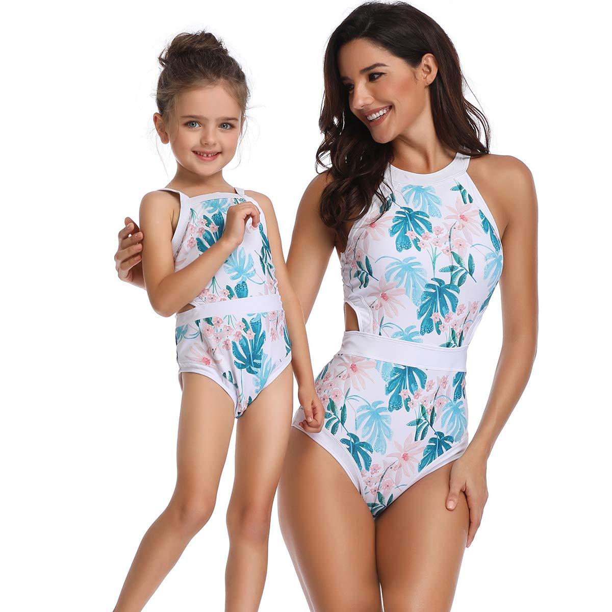 Mère-Fille Correspondant Maillot de Bain Bikini Famille Assorti au vêtement de Bain Tenues Beachwear Swimwear Maillot Chic Natation Surf Spa Trikini Push Up Tankini Swimsuit pour Maman et Fille