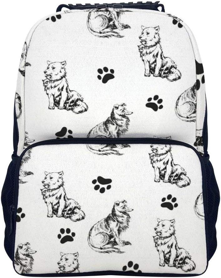 Promini Laptop Backpack for Women Travel Shoulder Bag Casual Lightweight Daypack Hand Drawn Poodles