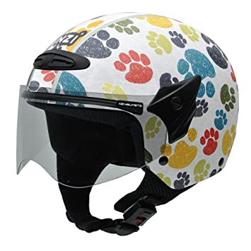 NZI 050269G707 Helix Jr Graphics Pawprints Casco de Moto, Diseño Huellas de Animales de Colores