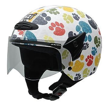 NZI 050269G707 Helix Jr Graphics Pawprints Casco de Moto, Diseño Huellas de Animales de Colores