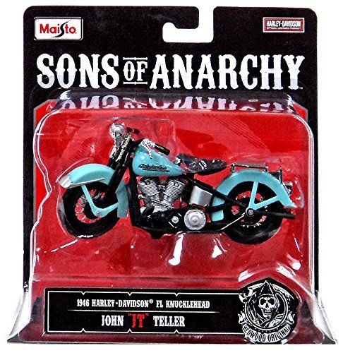 "1946 Harley-Davidson FL Knucklehead John ""JT"" Teller Sons of Anarchy 2014 Maisto 1:18 Scale Motorcycle"