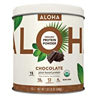ALOHA Organic Chocolate Plant Based Keto Friendly Protein Powder with MCT Oil, 19...