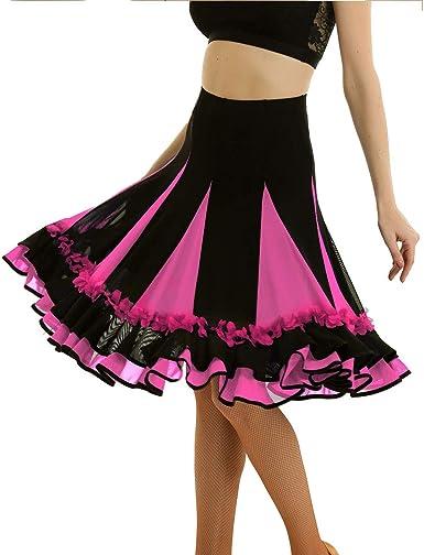 inhzoy Falda de Danza Flamenco para Mujer Falda Baile de Salón ...