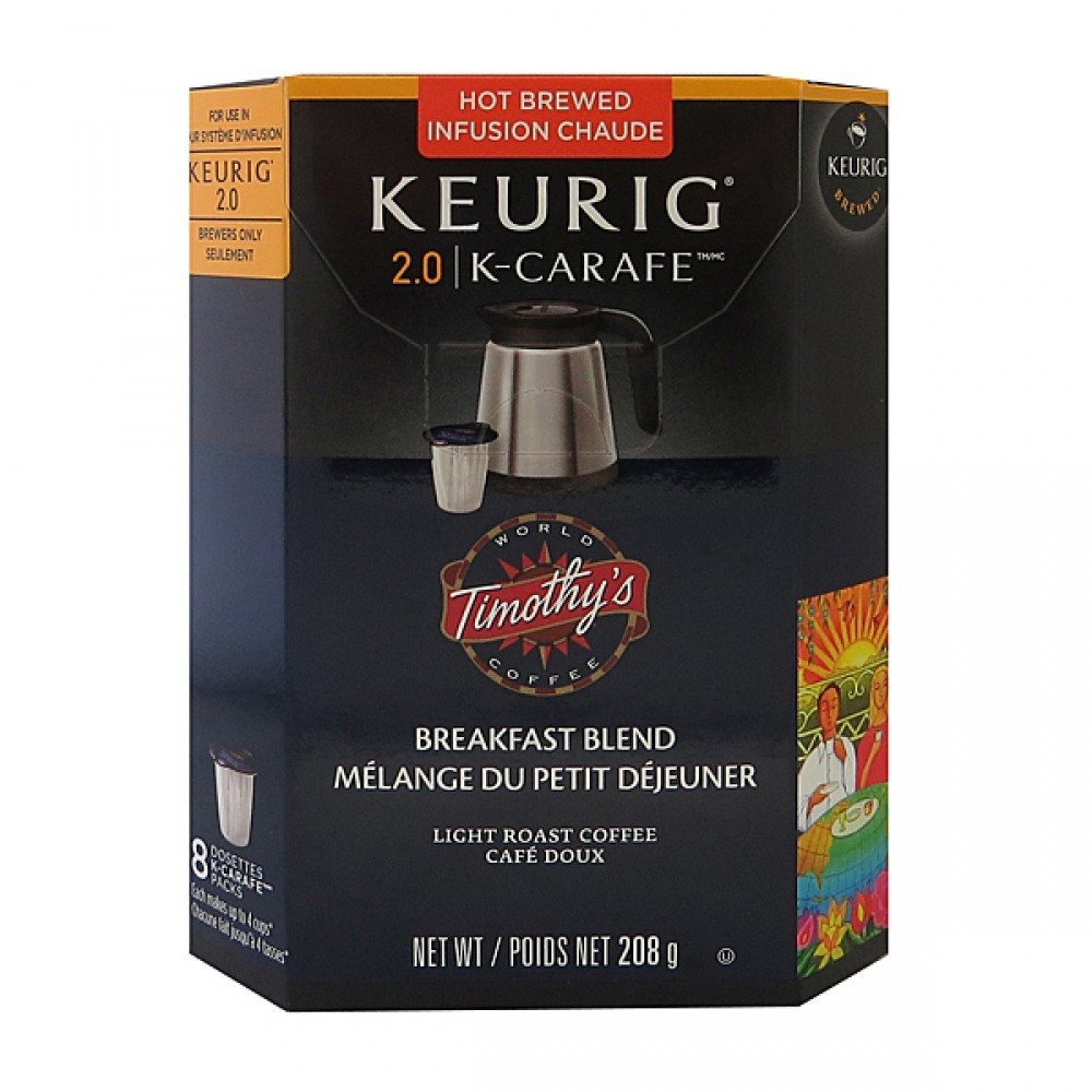Timothys Breakfast Blend K-Carafe Packs For Keurig 2.0 Brewers (8 Count Breakfast Blend)