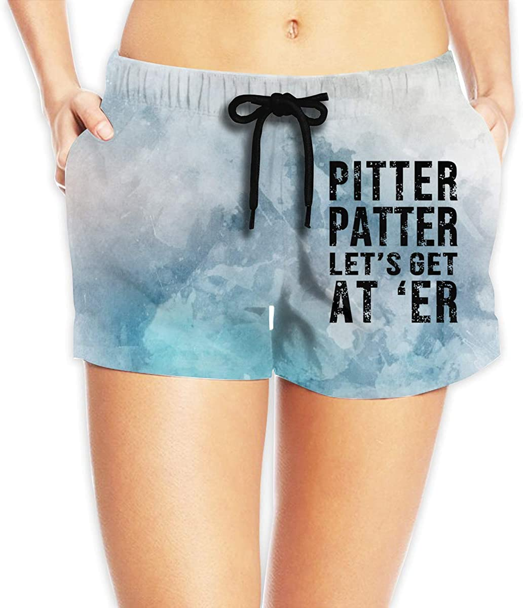 Pitter Patter Lets Get at Er Logo Mens Beach Shorts Casual Shorts Swim Trunks