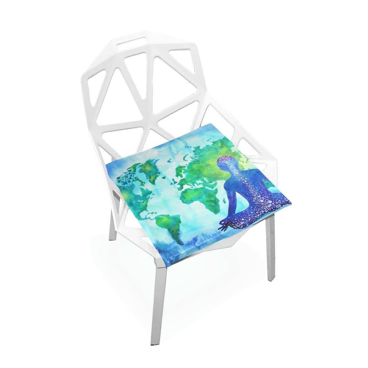 PLAO Chair Pads Abstract Human Power World Map Soft Seat Cushions Nonslip Chair Mats for Dining, Patio, Camping, Kitchen Chairs, Home Decor