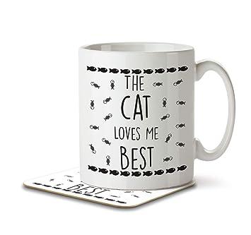 El Gato Me ama mejor - taza y posavasos por, diseño de pingüino: Amazon.es: Hogar